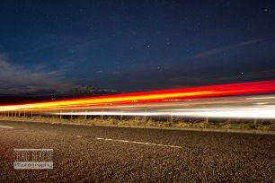 Night drive under the stars